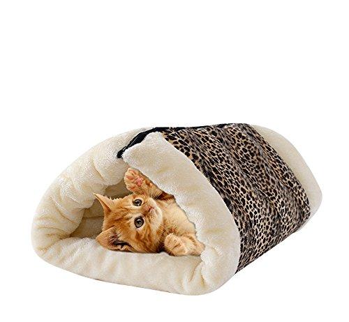 UMALL 2 in 1 Katzenhöhle und Betten für Katzen Katzenkorb zum Schlafen Kuschelige Haustierbett Gepolstert Katzenbett (Leopard)