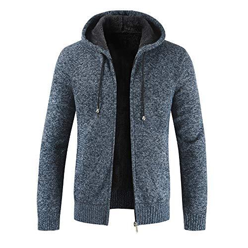 Xmiral Herren Stricken Jacke Mantel Lässige Zipper Kordelzug Hoodie Outwear Pullover (L,Blau)