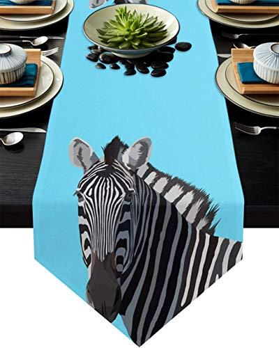 COMMER Camino de mesa, bufandas de cebra en blanco y negro para decoración de mesa para banquete de boda (33 x 228 cm)