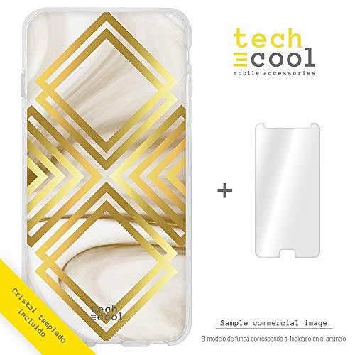 Funnytech Cover Samsung Galaxy S6 Edge Custodia in Silicone (TPU) per Samsung Galaxy S6 Edge [Design Esclusivo, Stampa ad Alta Definizione] [Textura marmol Blanco Oro vers.1]