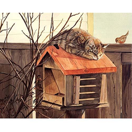 cmhai (geen lijst) kat op brievenbus dier DIY digitaal schilderen op cijfers moderne muurkunst canvas schilderij Kerstmis uniek geschenk Home Decor