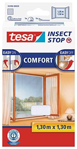 tesa Insect Stop COMFORT Fliegengitter für Fenster - Insektenschutz mit Klettband selbstklebend - Fliegen Netz ohne Bohren - weiß (leichter sichtschutz), 130 cm x 130 cm