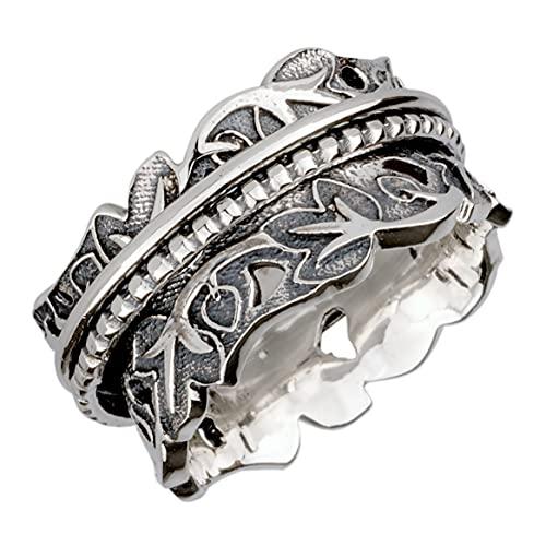 Energy Stone Joy & Abundance Sterling Silver Meditation Spinner Ring, N 1/2