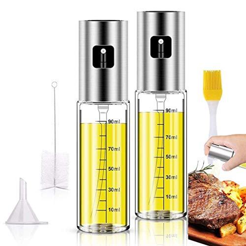 2PACK Olive Oil Sprayer Stainless Steel Glass Spray Oil Bottle Dispenser for Kitchen with Oil Spray Bottle Brush, Basting Brush and Oil Funnel for Air Fryer Cooking