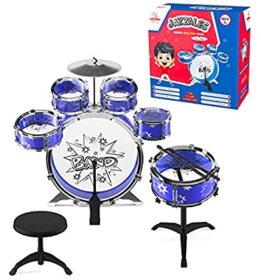 EMAAS 12 Piece Jazz Drum Set for Kids – 6 Drums, 2 Drumsticks, Kick Pedal, Cymbal Chair, Stool – Ideal Gift for Kids, Boys and Girls – Stimulates Musical Talent Imagination and Creativity
