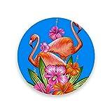 Montoj - Posavasos con diseño de flamenco, diseño de pájaros y flores, madera, 1, 4 pieces set