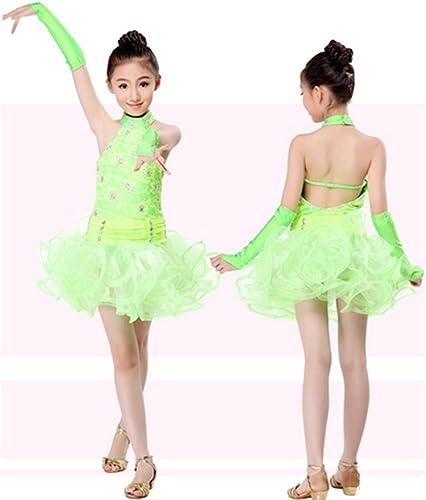 Peiwen Robe pour Enfants de Fille Spectacle de Danse vêteHommests de Danse Latine