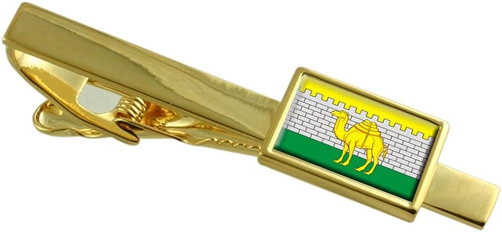 Chelyabinsk City Russia Flag Gold-tone Tie Clip