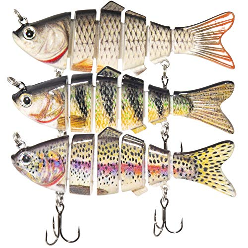 PetUlove Bass Swimbaits, Fishing Lures for Trout,Bass,Walleye, Predator Fish-Slow Sinking Bionic Fishing Swimming Lures for Freshwater Saltwater.Segment Lifelike Multi-Jointed Lures Tackle Kit, 3 Pack