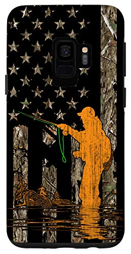 Galaxy S9 Fly Fishing Tying Fisherman American Flag Camouflage Gift Case