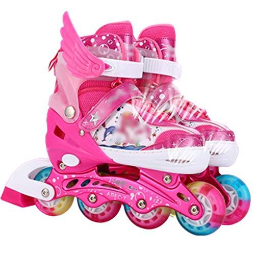 Einstellbare Inline Skates Blinkrad Kinder Jungen und Mädchen Roller Blades Erwachsene Männer und Frauen Inline Rollschuhe Pu-Pink_S (28-33)