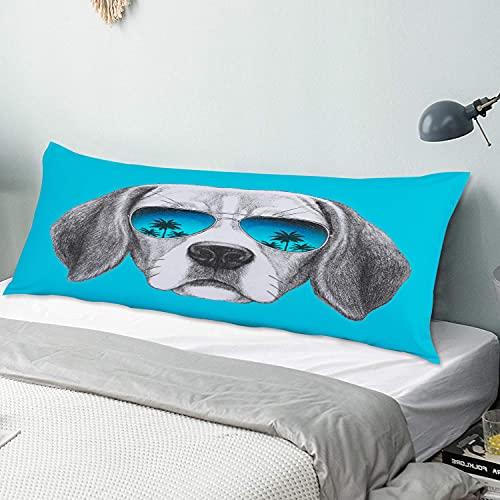 Personalizado Funda de Almohada Larga,Retrato de Perro Beagle con Gafas de Sol de Espejo Dibujado a Mano,Funda de Almohada para el Cuerpo con Cremallera Decor del Hogar Sofá para Dormitorio,54' x 20'