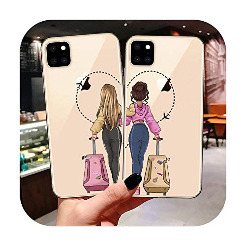 phonecase Girls Bff Best Friends Forever Carcasa de silicona para iPhone 11 Pro Max Xs 6 6S 7 8 Plus X Xr Xs Max 5S SE 5 Carcasa trasera Coque-Tpu-For Iphone Xr