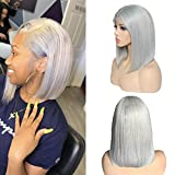 Grey Lace Bob wig Straight Human Hair 8inch Pre Plucked Short Cut Peruvian Virgin Hair 180% Density Glueless Bob Wig 13x4 Swiss Lace Middle Part for Women(could be restyle)