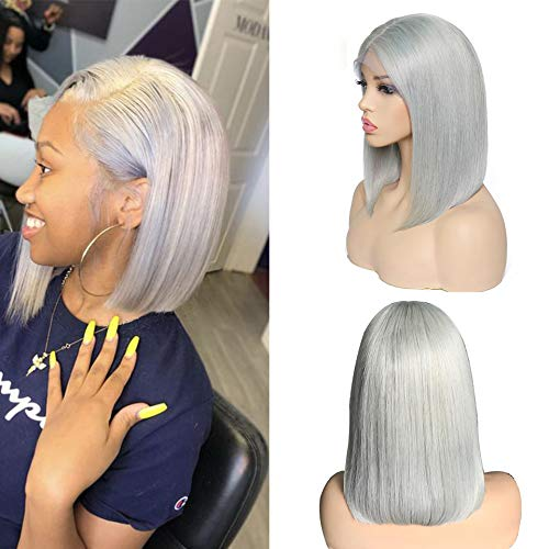 Smartinnov Lace Bob Wigs Grey Human Hair Pre Plucked 13×4 Swiss Lace Frontal Straight Middle Part 10inch Gray Short Cut Bob 180% Density for Women(Could be restyle)