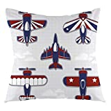 FULIYA Nursery Throw Pillow Cushion Cover America Inspired Toy Planes with Stripes and Stars Patriotic Illustration Decorative Square Accent Pillow Case, 20' X 20',White Blue and Red