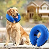 BENCMATE Protective Inflatable Collar for Dogs and Cats - Soft Pet Recovery Collar Does Not Block Vision E-Collar (Large, Blue)
