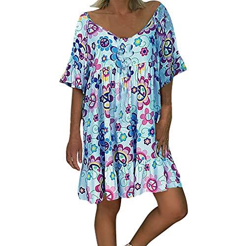 Xmiral Maxi Vestito Irregolare da Donna Abiti a Manica Lunga Irregolare con Stampa Floreale e Spalle Scoperte Vintage Boho Layer Abito Lungo (3XL,25- Blu)