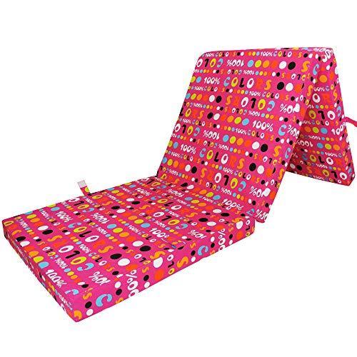 Klappmatratze Colors 187x60 cm Dessin Rot - 7 cm Starke Reisematratze für Kinder und Jugendliche