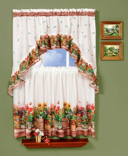 Achim Home Furnishings, 57 Country Garden Swag and Tier Kitchen Curtain Set, 24-Inch, Inch Inch, Multi Color