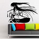 Tianpengyuanshuai Vinyl Wandaufkleber Samurai Geisha Japanisch Japanisch Samurai Schwert Anime Dekoration Wandaufkleber Vinyl Innendekoration Raum Aufkleber-151x103cm