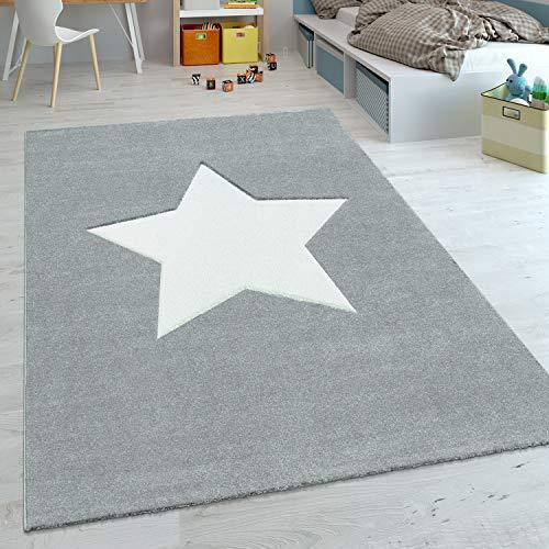 Paco Home Alfombra Habitación Infantil Estrella Pastel Tamaños, tamaño:80x150 cm, Color:Claro Gris