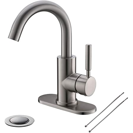 Single-Handle High-Arc Stainless Steel Faucet For Pre-Kitchen Sink//Bar Sink//Bathroom Sink By Phiestina Matte Black WE08E-MB With 4 Inch Deck Plate And Supply Hoses