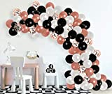 2021 New Year Decorations Rose Gold Balloon Garland Arch Kit Black White Rose Gold Confetti Balloons for Anniversary Bachelorette Graduation Wedding Retirement Birthday Baby and Bridal Shower Party Decorations