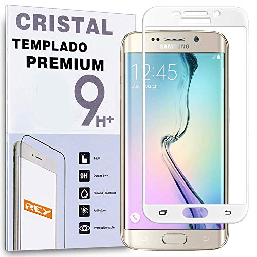 REY Protector de Pantalla Curvo para Samsung Galaxy S6 Edge Plus, Blanco, Cristal Vidrio Templado Premium, 3D / 4D / 5D