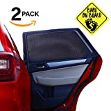 ATK Essential Products Car Window Shades For Baby -2019 Premium Version -Breathable Mesh -Protect Kids/Pets From Sun - Easy Fit – Universal Fits Most Models   2 Pack + Baby On Board Sticker