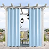 Pro Space Water & Wind Resistant Outdoor Curtain, Thermal Insulated Grommets on Top and Bottom, Privacy Panel Drapery for Patio Porch Gazebo Cabana, 50' W x 120' L, Blue
