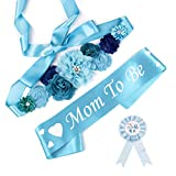 Baby Shower Maternity Sash Belly Belt, Mom to Be & Dad to Be Button Pin, Pregnancy Maternity Flower Sash Belt for Gender Reveal (Blue Baby Boy)