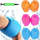 Babigo 6 Pack Kids Adult Swimming Arm Float Rings with Inflatable Pump, Children PVC Arm Floaties Inflatable Swim Arm Bands Floater Sleeves Swimming Rings