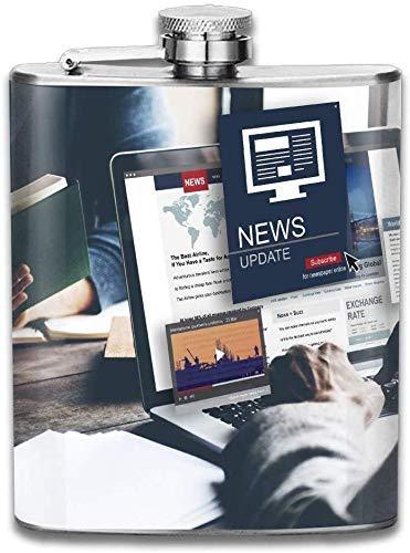 News Update Journalism Headline Media Concept New Brand 304 Stainless Steel Flask 7oz