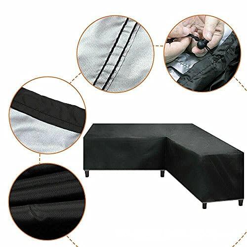 Funda para sofá de esquina con forma de V, impermeable, resistente al polvo, resistente al viento, para patio 420D, para muebles de jardín al aire libre (tamaño: 286 x 286 x 82 cm)