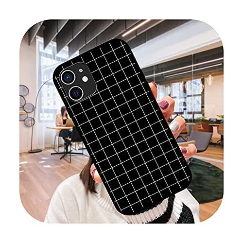 Funda del teléfono para el iPhone 12 11 mini pro max se XS XR X 4 5 6 6S 7 8 más negro cubierta coque 3D hoesjes lujo cubierta Grid-N1-iPhone 11