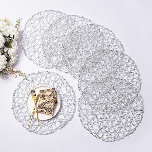 IcosaMro Silver Round Placemats for Dining Table Set of 6 Non Slip Woven Heat Resistant Circle product image