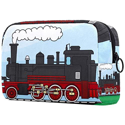 Neceser con cremallera, bolsa de maquillaje reutilizable de gran capacidad, bolsa de viaje para cosméticos con tren locomotora para adolescentes y mujeres