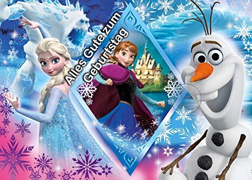 Für den Geburtstag ein Tortenbild, Rechteckig A4, Zuckerbild mit dem Motiv: Frozen Die Eiskönigin, Essbares Foto für Torten, Tortenbild, Tortenaufleger - Super Qualität, 1261
