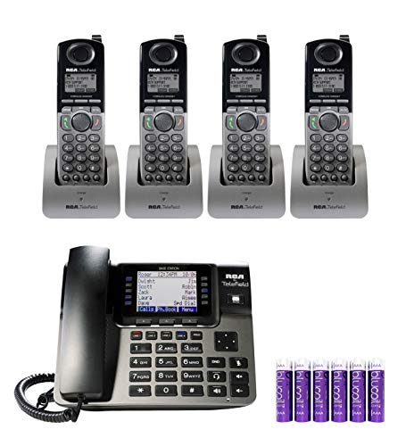 RCA U1000 Unison 4 Line Phone Systems with Full-Duplex Speakerphone for Small Business Bundle with 4-Pack of RCA U1200 Cordless Accessory Handsets, and Blucoil 6 AAA Batteries