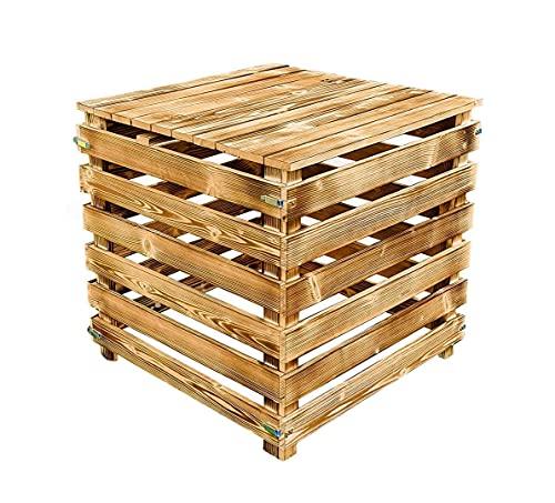 Holz KOMPOSTER mit Deckel 510 L Kompostbehälter mit aufklappbaren Wänden aus GEFLAMMT Holz Garten Holzkomposter Bio kompost Holzkomposter Kompostsilo...