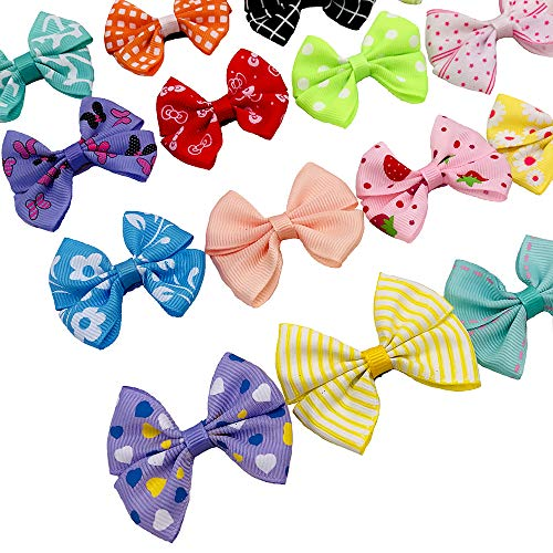 PET SHOW Dog Hair Bows with Alligator Clips for Small Dogs Bowknot Hair Clips Cat Puppy Yorkshire Grooming Hair Accessories Assorted Pack of 20