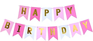 Happy Birthday Banner, Party Decoration Pink & Gold