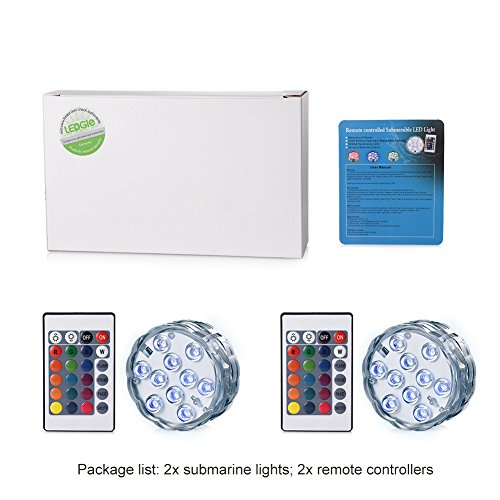 Submersible LED Lights LEDGLE LED Waterproof Multi Color Light RGB Changing Decorated Lighting Battery Operated Lamps with Remote Control for Aquarium Hot Tub Vase Base Party Floating on Water(2 Pack)