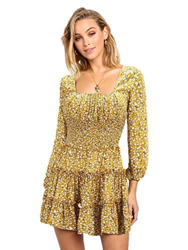 SLYZ Primavera Vestido De Gasa De Manga Larga para Damas Europeas Y Americanas con Vestido Floral De Temperamento Entallado