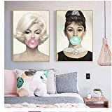 Hhlss arte de la pared 2x50x70cm sin marco marilyn monroe y audrey hepburn chicle bubble canvas posters imprimir cuadros para la sala de estar