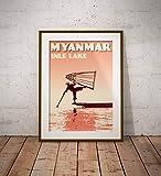 AZSTEEL Vintage Poster Myanmar – Inle Lake Coral – Fine