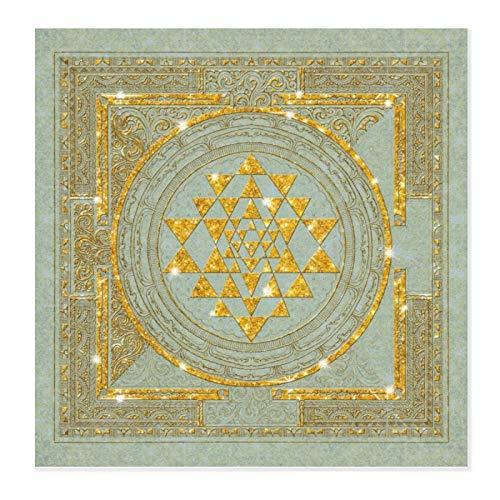 Sri Yantra - Alfombrilla de secado de platos de microfibra con purpurina dorada para cocina, alfombrilla de secado ultra absorbente, escurreplatos para encimera, resistente al calor, 71 x 71 cm