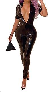 QIYUN.Z女性セクシーなディープVネックロングスリーブソリッドレザージャンプスーツレディースロングロンパースズボン