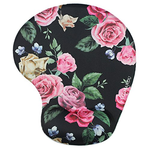 Lizimandu Non Slip Mouse Pad Wrist Rest for Office, Computer, Laptop & Mac - Durable & Comfortable & Lightweight for Easy Typing & Pain Relief-Ergonomic Support(Black Rose)